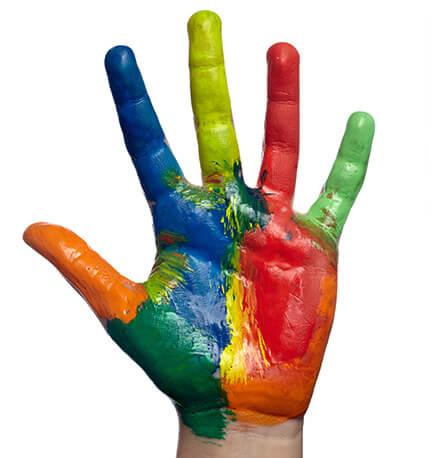Angemalte Hand